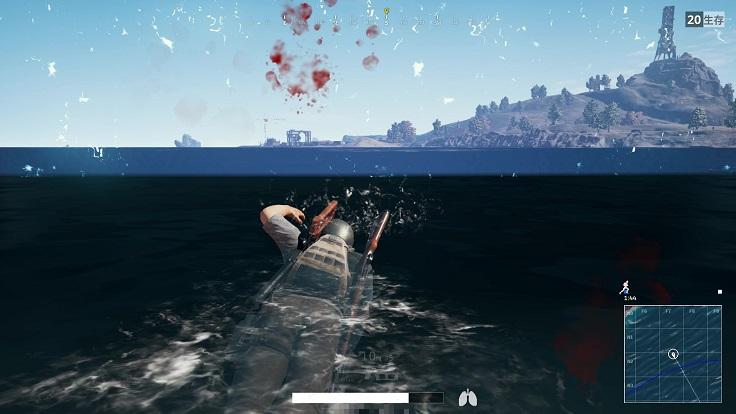海にて競技エリア外になる