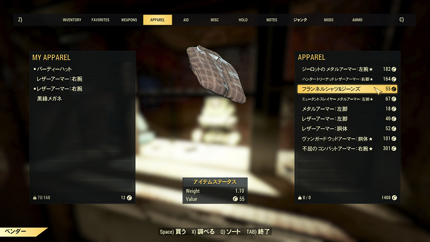 【Fallout 76】Flannel shirt and jeans